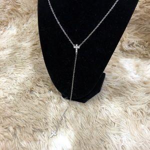 NEW Core Rhinestone Cross Dangle Necklace Silver